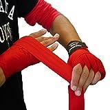 「king2ring」ボクシング 練習用 バンテージ キックボクシング ムエタイ 総合格闘技 収縮性 有機コットン 幅 5cm-長 3.8m (White) 5色 ペア