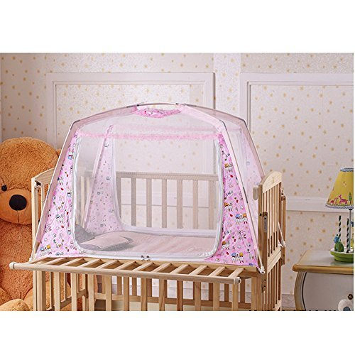 LOHOME® Zippered Baby Kid Children Nursery Bed Crib Mongolia Pack Folding Cot Mosquito Net Yurt Folding Mosquito Net Tent House Nets Crib with Stand Child Mosquito Bar Crib (Pink) - 1