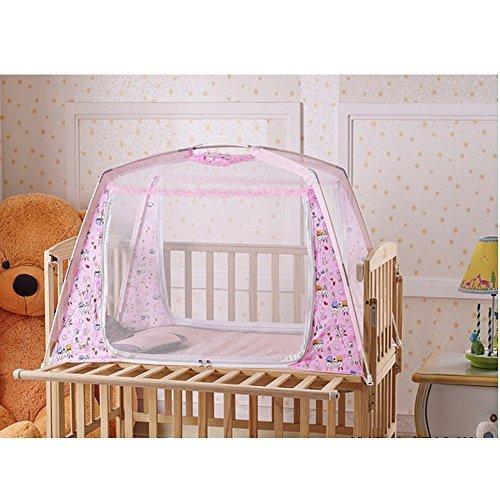 LOHOME® Zippered Baby Kid Children Nursery Bed Crib Mongolia Pack Folding Cot Mosquito Net Yurt Folding Mosquito Net Tent House Nets Crib with Stand Child Mosquito Bar Crib (Pink) - 1
