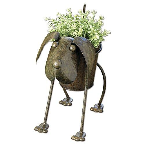 Metal Dog Planter Animal Urn Planter Cute Metal Garden Art Home Lawn Gardening Pots Planters
