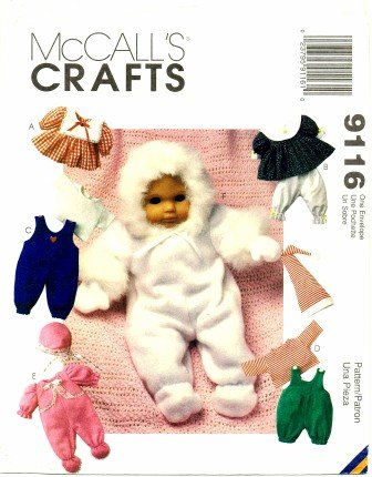 McCall's 9116 Crafts Sewing Pattern Baby Doll Clothes