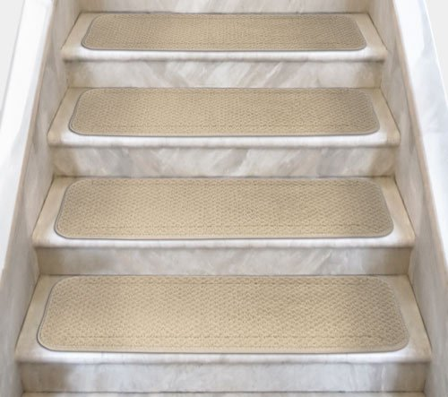 12 Attachable Carpet Stair Treads - Ivory Cream - 8 In. X 27 In. - Several Other Sizes to Choose From