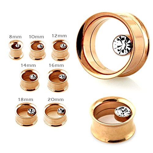 0 Gauge - 8MM Clear Bezel Set Crystal Stone on Rose Gold Sugical Steel Flesh Internally Threaded Screw Fit Tunnel Ear Plug (Gold Ear Plugs compare prices)
