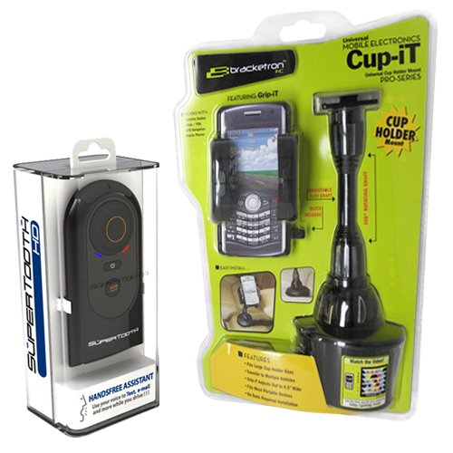 SuperTooth HD Bluetooth Speakerphone Car Kit with Bracketron Universal Cup Holder Mount