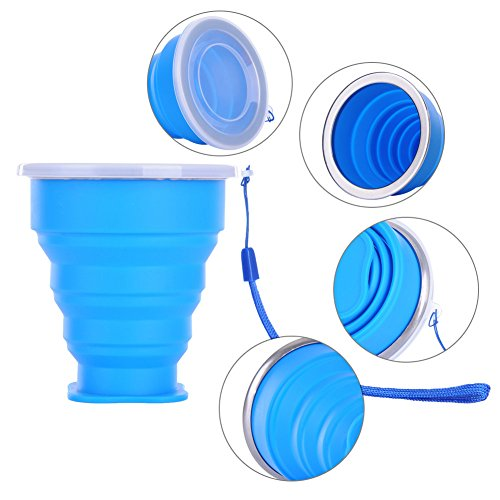 ZLTFashion Outdoor Travel Silicone Retractable Folding Cup Telescopic Collapsible Portable Water Bottle 200-300ml (Blue)