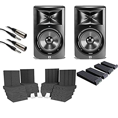 "JBL LSR308 8"" 2-Way Powered Studio Monitor Pair With Auralex Isolation Foam Pads"