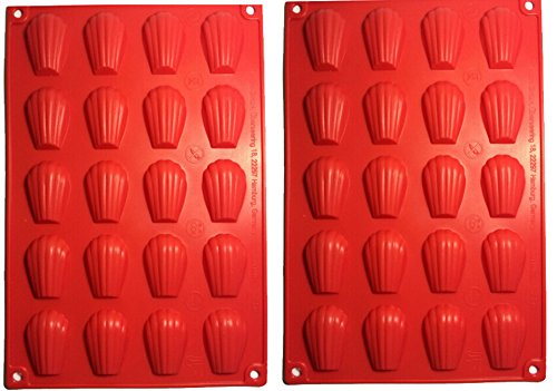 Fasmov 20-Cavity Silicone Madeleine Pan Cookie Mold,Baking Mold, Handmade Soap Moulds and more,Set of 2
