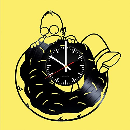 The Simpsons Handmade Vinyl Record Wall Clock Fun gift Vintage Unique Home decor Art Design Retro Interier