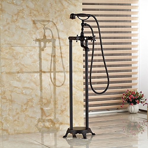 Zovajonia Oil Rubbed Bronze Free Standing Bathtub Shower Faucet System Floor Mounted Swivel Tub Filler 2 Cross Handle with Handheld Spray (Faucet For Free Standing Tub compare prices)