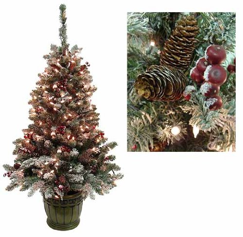 5' Pre-Lit Frosted Hawthorne Fir Potted Artificial