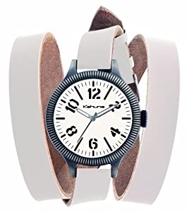 Kahuna Unisex Watch KUS-0051G with White Wrap Around Leather Strap