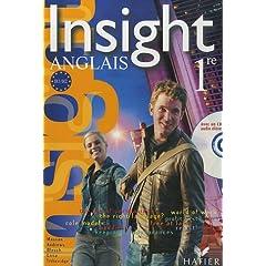 Insight Anglais 1e : Manuel (avec 1 CD audio)
