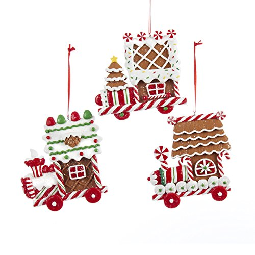 Clay Dough Gingerbread Flat Train Ornaments (set OF 3 Assorted)