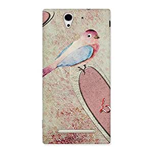Delighted Bird Heart Drawing Back Case Cover for Sony Xperia C3