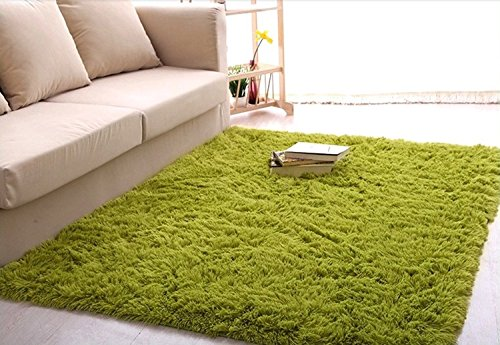 ROEWELL® Super Soft 4.5 cm Thick Modern Shag Area Rugs Living Room Carpet Bedroom Rug for Children's Play Rug Floor Rug Nursery Rug 4 Feet by 5 Feet(Grass green) image