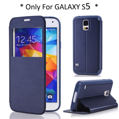 Arbalest View Window Cover Case S Flip PU Cuir Coque pour Samsung Galaxy S5 Smartphone Bleu Foncé