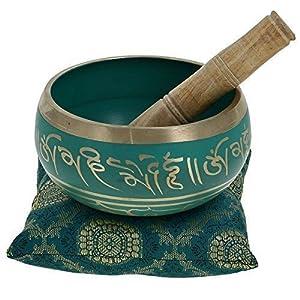 "Zap Impex ® Tibetische Meditation Om Mani Klangschale / Kissen / Mallet ""4 Zoll"" Grün"