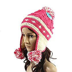Ibeauti Exquisite Women's Winter Warm Crochet Cap with Ear Flaps Knitted (Watermelon Red)