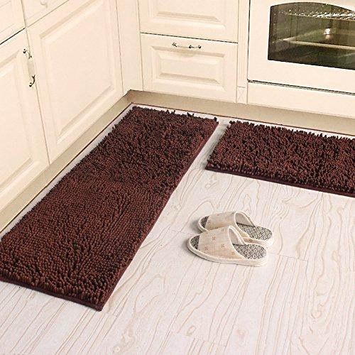 Ustide 2-Piece Kitchen Rug Set Coffee Shaggy Chenille Rug Washable Bathroom Mat Set Non-Slip Absorbent Floor Carpet (Kitchen Rug Set Coffee compare prices)