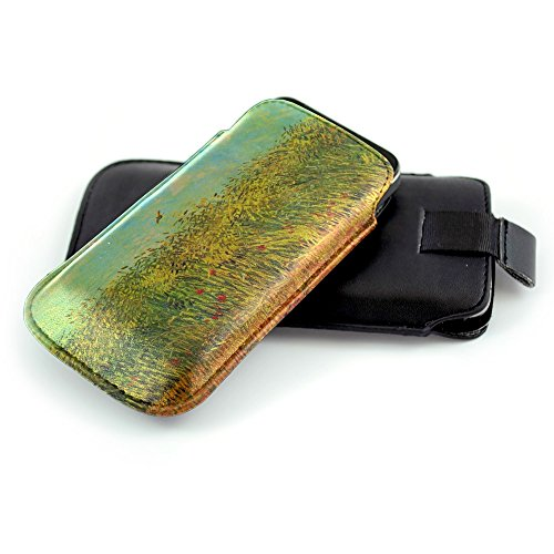 van-gogh-wheat-field-with-a-lark-nero-universal-eco-leather-holster-sleeve-slide-in-pouch-with-color