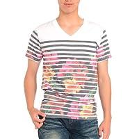 (スペイド) SPADE Tシャツ メンズ ボーダー 花柄 Vネック プリント 半袖 【w401】