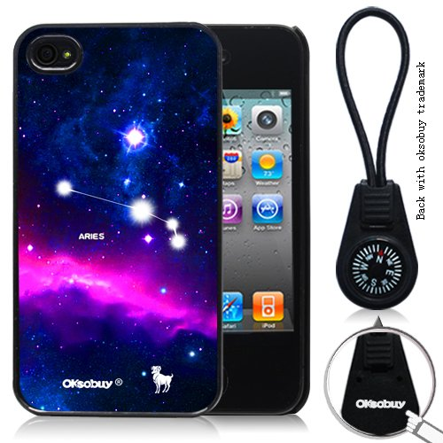 Oksobuy® Aries Constellation with Deep Blue Starship Background for Iphone 4/4s Case Black-0330