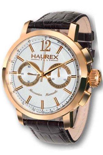 Haurex Italy Maestro Silver Dial Watch #CR330USH - Reloj de caballero automático, correa de piel color negro