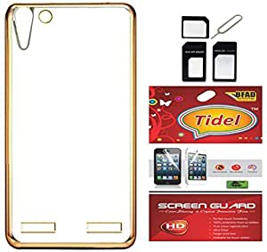 Tidel Meephone Soft Flexible TPU Back Cover for Lenovo Vibe K5 Plus / K5+- Gold With Screen Guard & Micro/Nano Sim Adapter