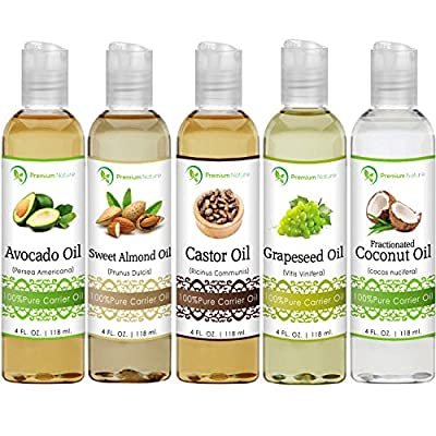 Premium Nature 5 Piece Essential Oil Set, Coconut Oil, Castor Oil, Grapeseed Oil, Avocado Oil and Sweet Almond Oil, 4 fl oz Each