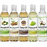 Premium Nature 5 Piece Essential Oil Set, Coconut Oil, Castor Oil, Grapeseed Oil, Avocado Oil and Sweet Almond Oil, 4 fl oz Each