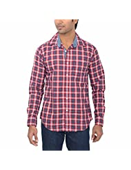 One Fuel Men's Red Blue White Checks Casual Slim Fit Shirt