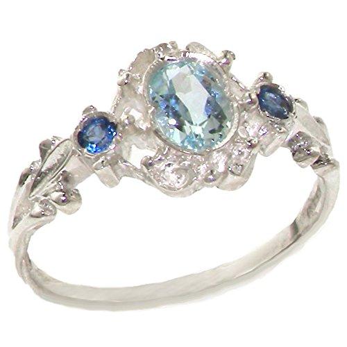 英国製 925 シルバー 天然 アクアマリン ライトブルー サファイア レディース ユニーク アンティークスタイル  デリケート 華奢 リング 指輪 サイズ 15 各種サイズあり