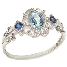buy Vintage Design 925 Solid Sterling Silver Natural Aquamarine & Sapphire Ring - Size 7 - Finger Sizes 4 To 12 Available - Suitable As An Eternity, Engagement, Promise Or Anniversary Ring