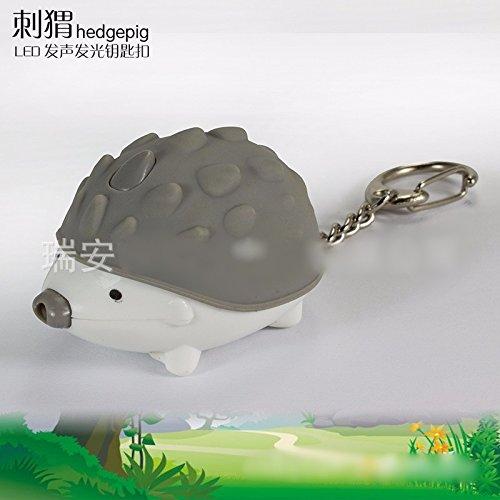 Gray Creative Animal Hedgehog LED Light Flashlight Sound Keychain Ring Pendant Doll