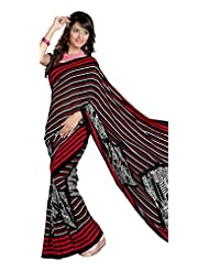 Indian Ethnic Sari Lovely Stripes Printed Faux Georgette Saree By Triveni