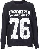 Womens Brooklyn New York Athletic 76 Varsity Print Ladies Long Raglan Sleeves Crew Neckline Sweatshirt Jumper Top