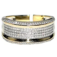 buy Mens Diamond Wedding Band Ring 10K Yellow Gold .45Cttw 10Mm Wide Pave Set Ring