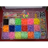 deAO Loom Bands Kit & Clips Collection with 3300 Bands + 50 Clips + 6 Hooks + 12 Charms + 1 Loom Board 22 Beautiful Colours and Great Storage Case