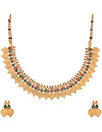 Zeneme Red & Green Traditional Temple Coin Necklace Set / Jewellery Set With Earrings For Women