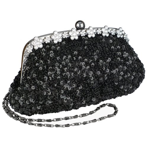 Black Irridescent Dazzling Sequins Beading Soft Clutch Evening Bag Purse Handbag with 2 Detachable Shoulder Chains