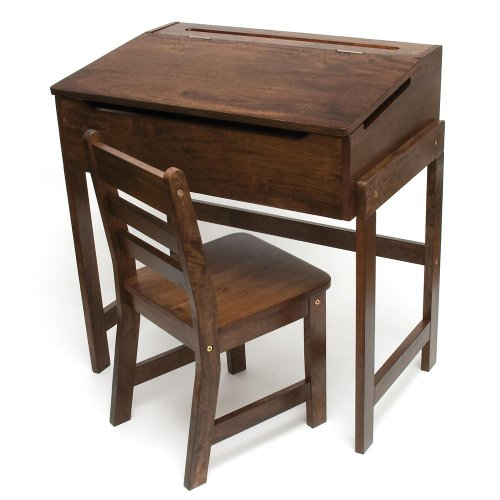 Lipper International Child's Slanted Top Desk and Chair, Walnut