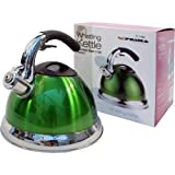 3.5L Green Stainless Steel Lightweight Whistling Kettle For Gas Electric Hobs