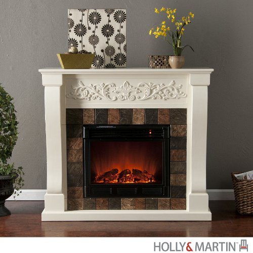 Holly & Martin Calgary Electric Fireplace, IVORY photo B00917VEHG.jpg