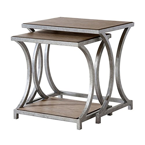 Stein World Furniture Palos Heights Nesting Tables, Weathered Oak Over Ash,  Silver Plata Metal