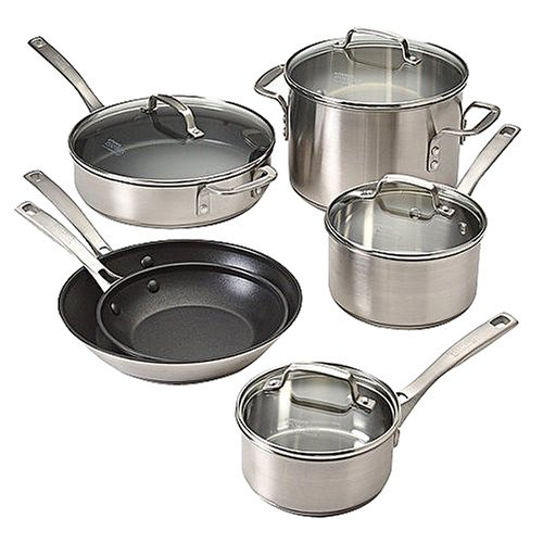 Calphalon Stainless Cookware Set Kitchen Essentials By Calphalon Stainless Steel 10 Pc
