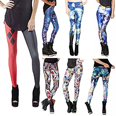 Swatom Women Fitness Leggings Blue Midnight Owl Day Of The Dead Galaxy Legging Print Pants