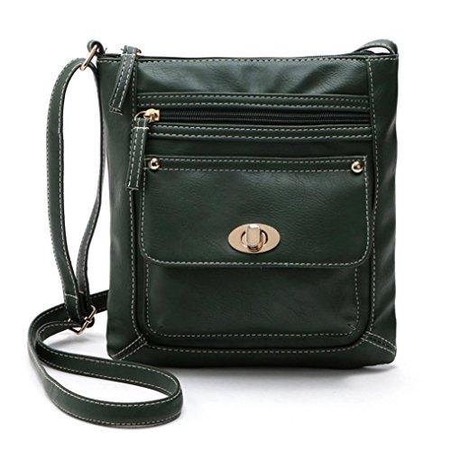 FEITONG Donne PU Pelle cartella Attraversare Corpo Spalla Messenger Bag (verde)