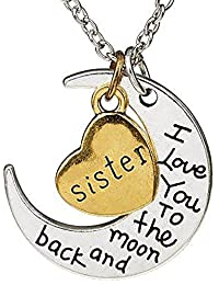 Evana I Love You To The Moon And Back Pendant With Steel Brass In Heart Pendant Necklace For Girls