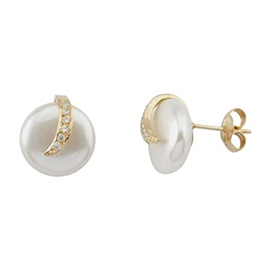 18k gold pearl earrings cubic zirconia band closure pressure [5603]