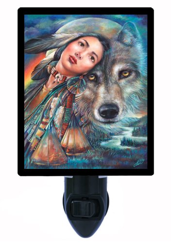 Night Light - Dream Of The Wolf Maiden - Native American Led Night Light front-186156